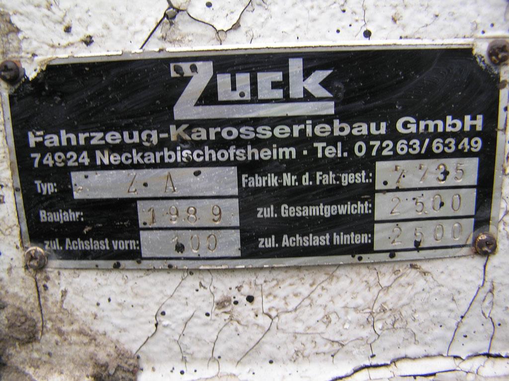 Tandem axle Zuck trailer