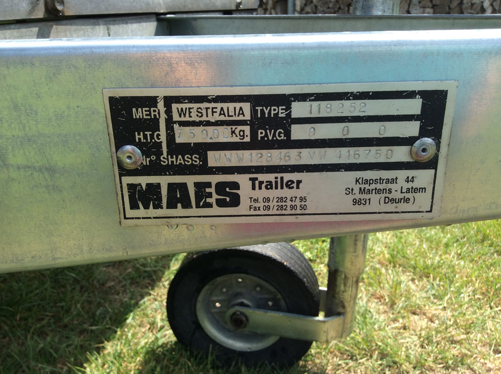 3.0m single axle Westfalia trailer