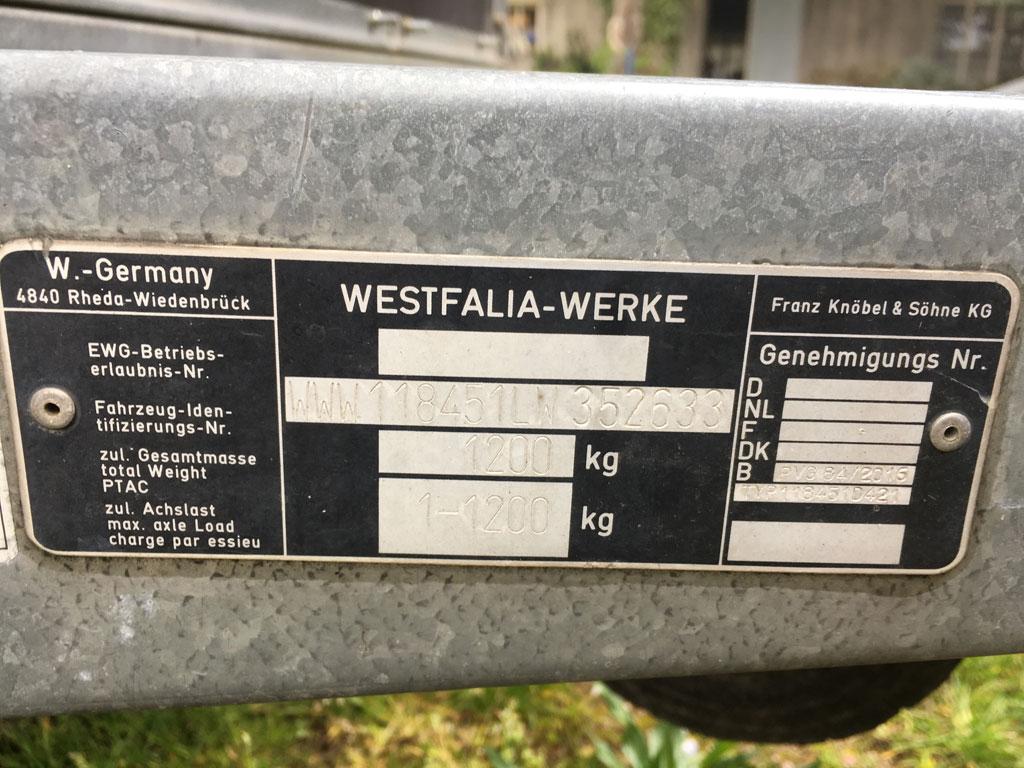 2.5m single axle Westfalia trailer