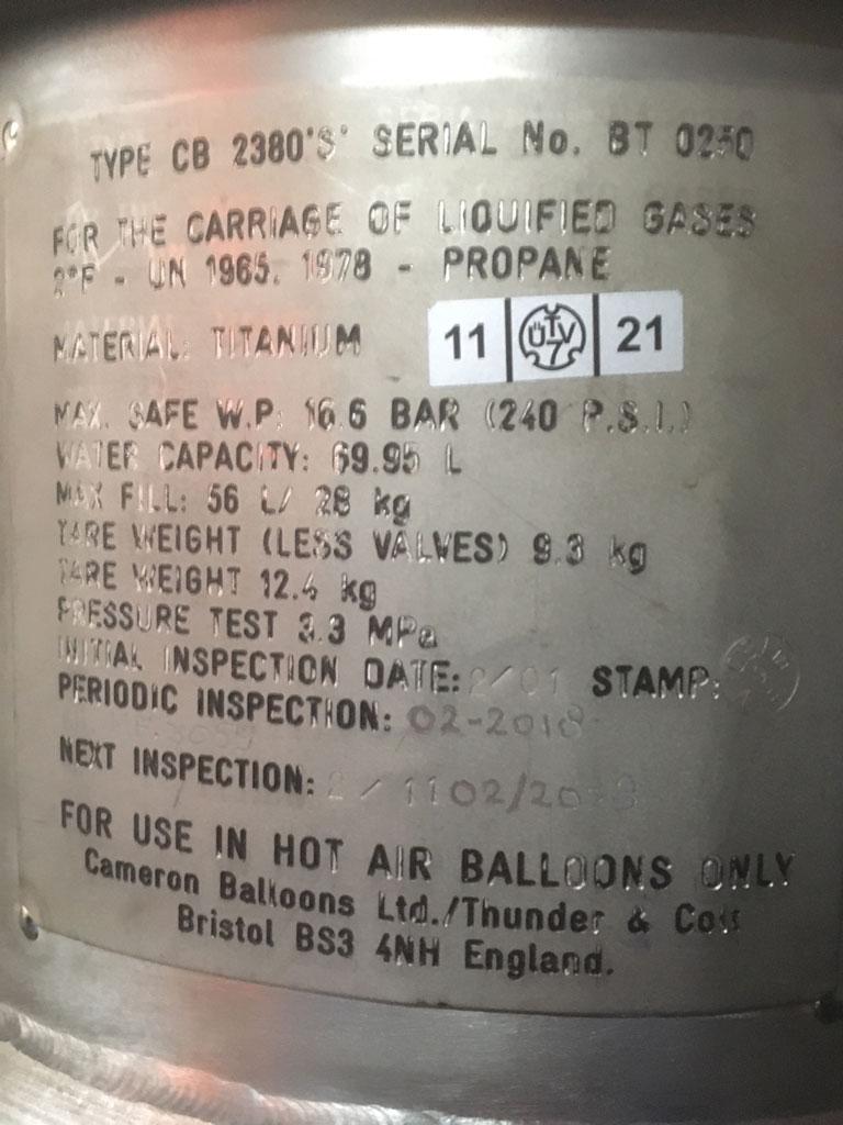 3x Cameron CB2380S Titanium cylinder