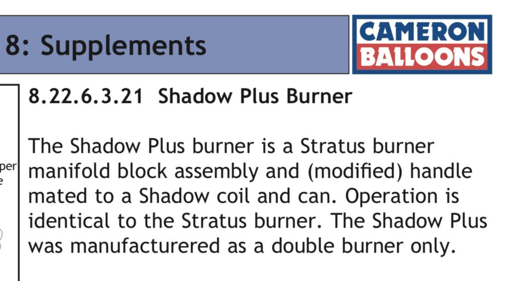 Cameron Shadow Plus burner