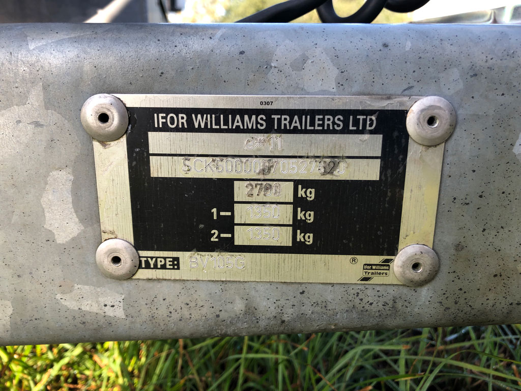 Ifor Williams tandem axle BV105 trailer